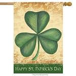 Happy St. Patrick's Day Shamrock House Flag