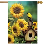 Goldfinch and Sunflowers House Flag