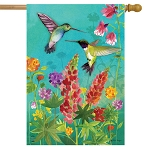 Hummingbird Greeting House Flag