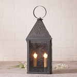 Hospitality Lantern Accent Light in Blackened Punched Tin