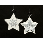 Set of 2 Asst Galvanized Star Ornament- 4.375inH