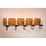 Large Americana Wood Vanity Light in Pearwood - 5 Light