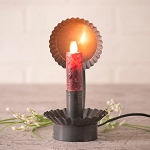 Lodge Chamberstick Moving Flame Electric Candle Accent Light in Blackened Tin