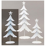 Med White Glitter Metal Tree - 15.75inH