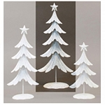 Lg White Glitter Metal Tree - 19.5inH