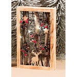 Vertical Wood/Twig Deer Frame - 14.5inH LED