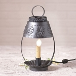 Single Student Accent Light with Shade in Punched Black Tin