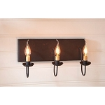 Small Hartford Wood Vanity Light in Black over Red - 3 Light