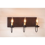 Small Hartford Wood Vanity Light in Black with Red Stripe - 3 Light