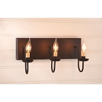 Small Sturbridge Wood Vanity Light in Black with Red - 3 Light