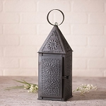 Square Punched Tin Candle Lantern in Black