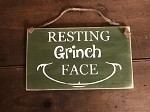 Resting Grinch Face Handmade Rope Wood Sign 6