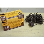 100 Bulb Primitive Electric Rice String Light 19.5 ft Brown Cord - Steady On