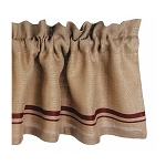 Burlap Stripe Valance Barn Red-Wheat