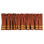 Newbury Gingham Red With Oat Trim Valance