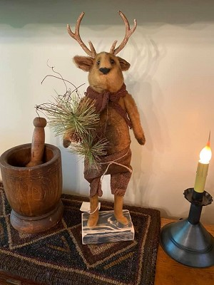 Handmade Reindeer with Antlers on Stand 24' Tall by Rugged Chic