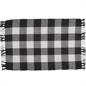 Wicklow Check Yarn Placemat - Black & Cream