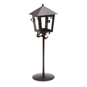 Lantern - Metal - Black - 5.31 x 4.92 x 14.37 inches Candle Holder