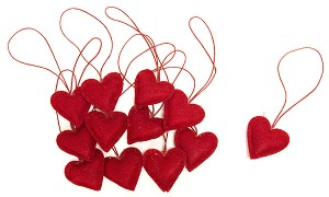 Heart Ornaments - 12/Set