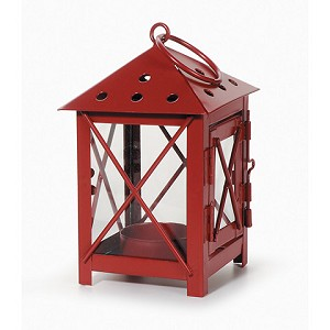 Lantern - Metal - Red - 3 x 3 x 5.5 inches