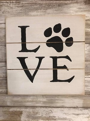 Love Pet Paws Handmade Farmhouse Style Sign 12