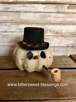 Handmade Primitive Carved Snowman with Top Hat 6
