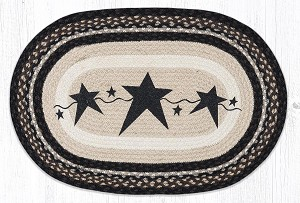 Primitive Star Black 20' x 30' Oval Braided Rug