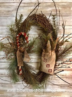 Christmas Candy Cane Noel Wreath by Olde Time Santas Primitive Handmade