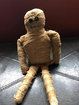 Handmade Cheesecloth Wrapped Mummy Doll 14