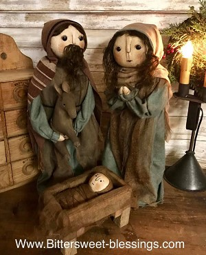 Handmade Nativity Set by Bearing In Love 3 Pieces