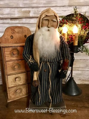 Arnett's Night Shirt Santa Navy Ticking Gown Holding Candle 19