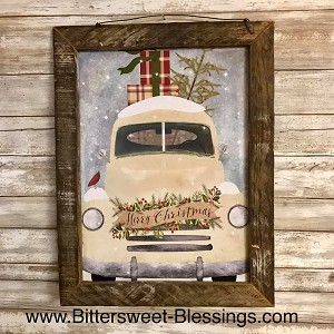 Old Truck Merry Christmas Tobacco Lath Framed Artwork 13.5