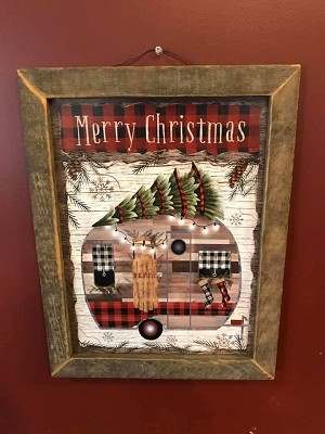 Tobacco Lath Framed Artwork Merry Christmas Camper 13.5