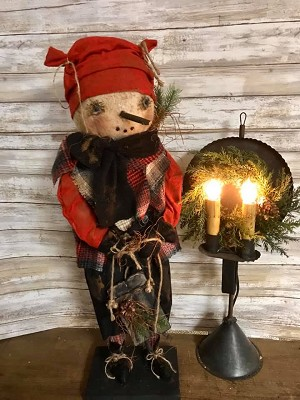 Primitive Handmade Standing Snowman with Sled 25