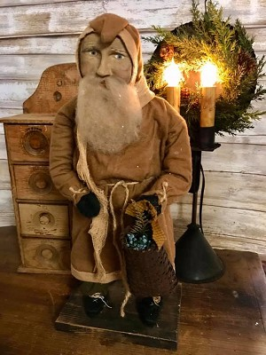 Handmade Arnett Santa in Tan with Basket of Juniper Berries 19' Tall