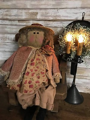 Handmade Primitive Doll with Heart Blouse