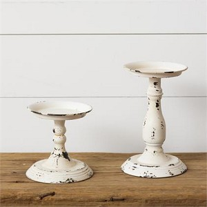 Candle Holder - Cream Distressed Set of 2