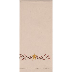 Homespun Berry Grain Sack Cream Towel