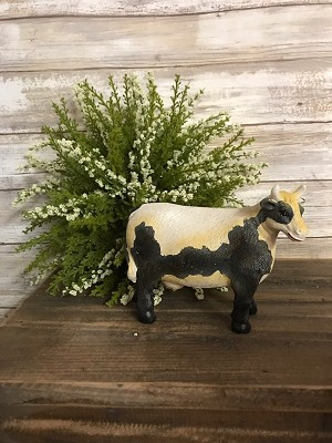 Large Black & White Cow Resign Figure 5.5' Wide