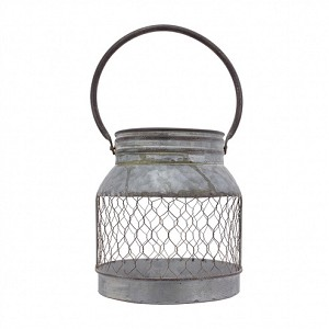Short Galvanized Mesh Bucket