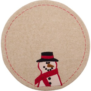Happy Snowman Candle Mat Nutmeg
