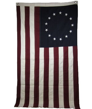 Burgundy & Navy & Cream Large Betsy Ross Flag