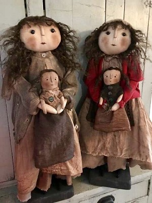 Handmade Doll Holding a Baby Doll by Bearing In Love 24