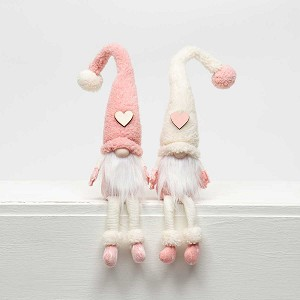 HEART and POM-POM GNOME with FLOPPY LEGS 2 Assorted PINK/CREAM 1.75