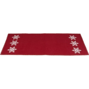 Snowflake Barn Red Table Runner