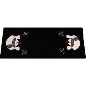Snow Day Black Table Runner