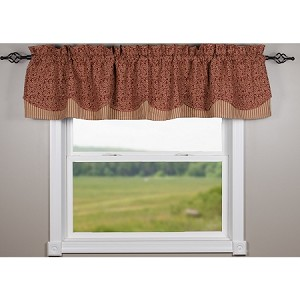 Red Vine Print With Ticking Barn Red Fairfield Valance