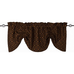 Lover's Knot Jacquard Gathered Valance Black - Mustard